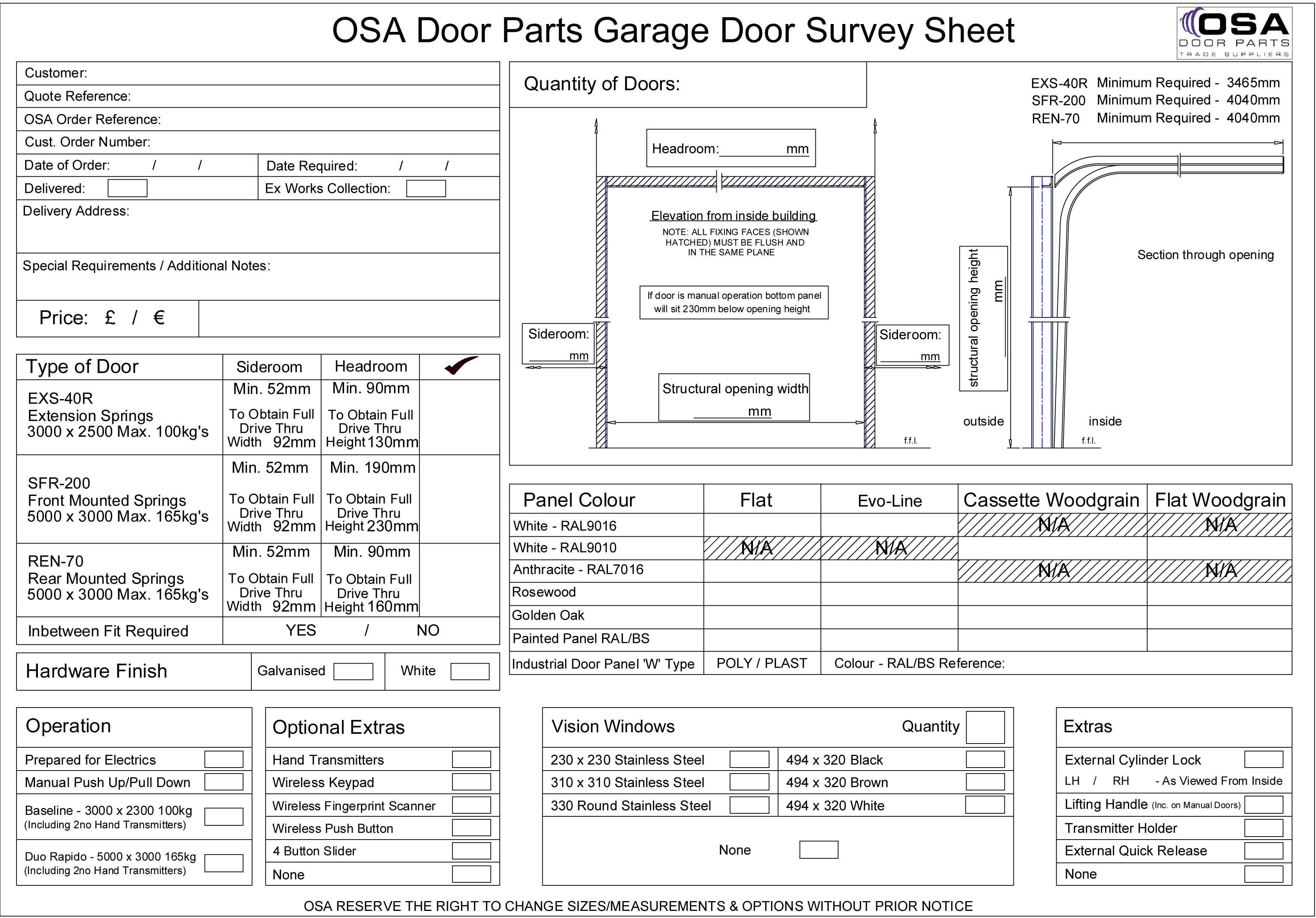 Garage door panel parts - Garage Door Survey Sheet