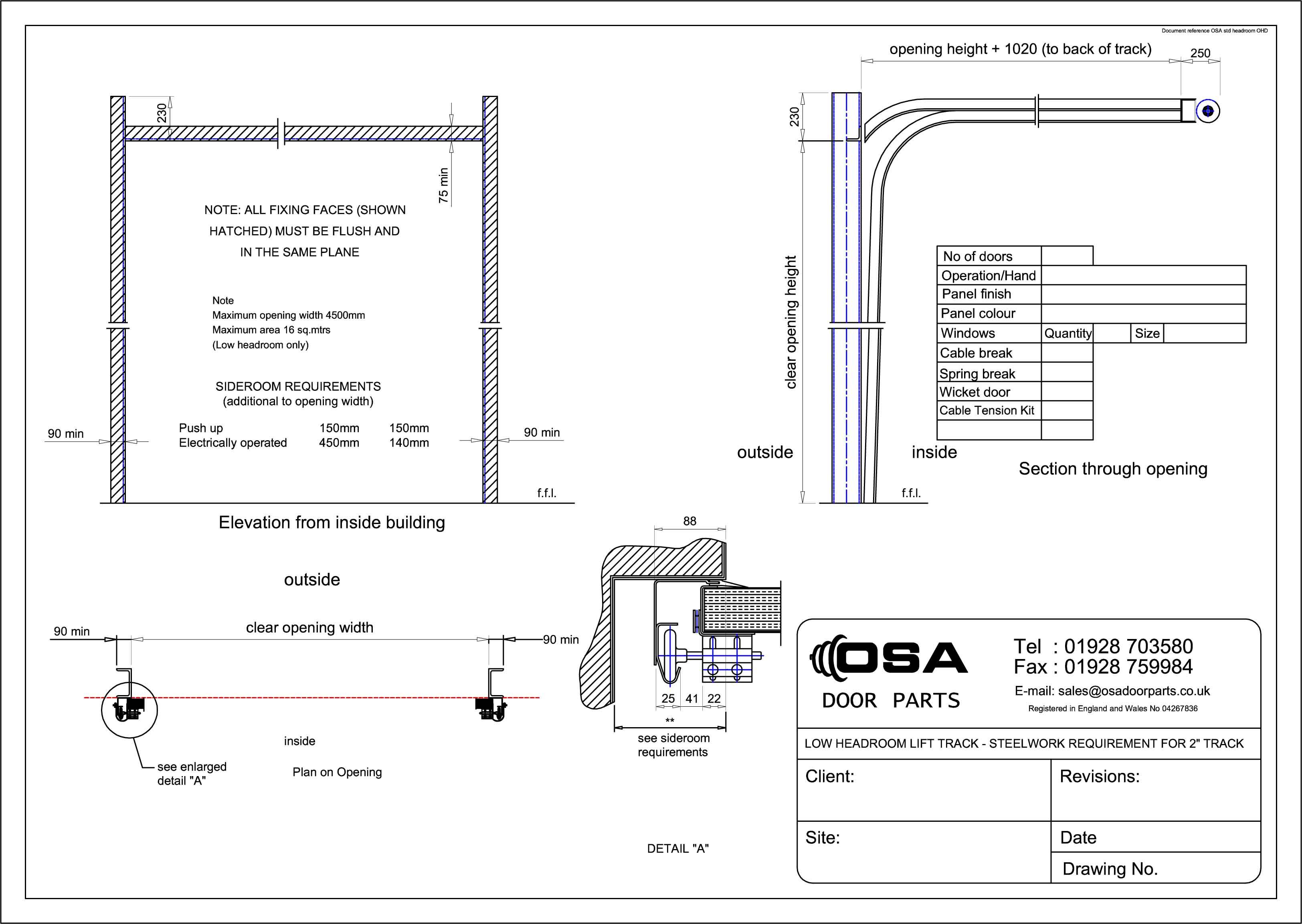Sectional Garage Door Construction Details : Drawings for sectional overhead doors osa door parts limited