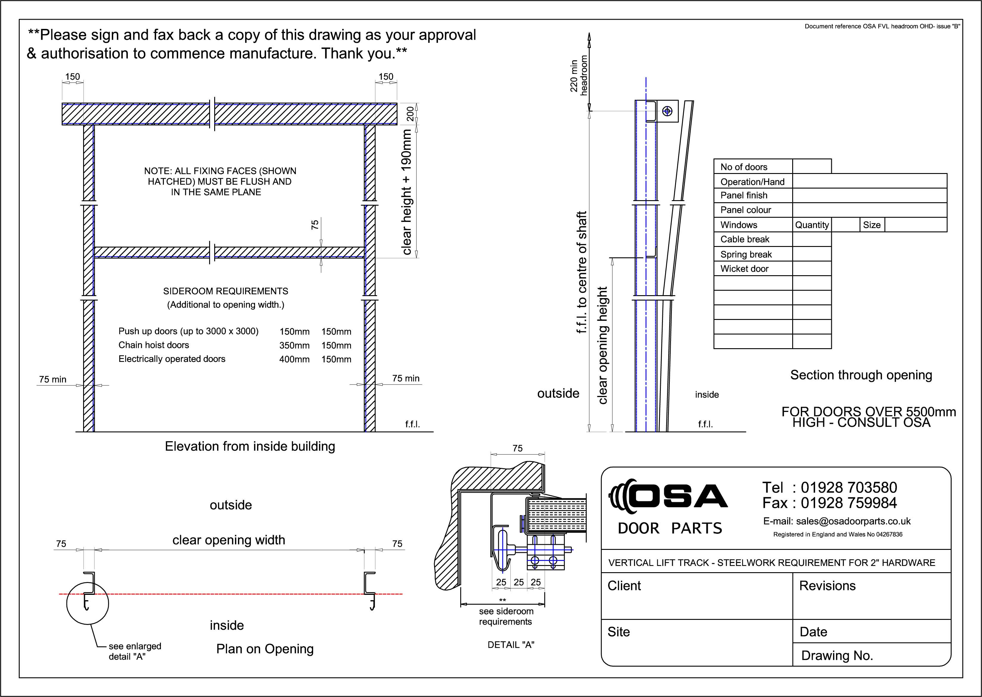 Drawings For Sectional Overhead Doors 187 Osa Door Parts Limited