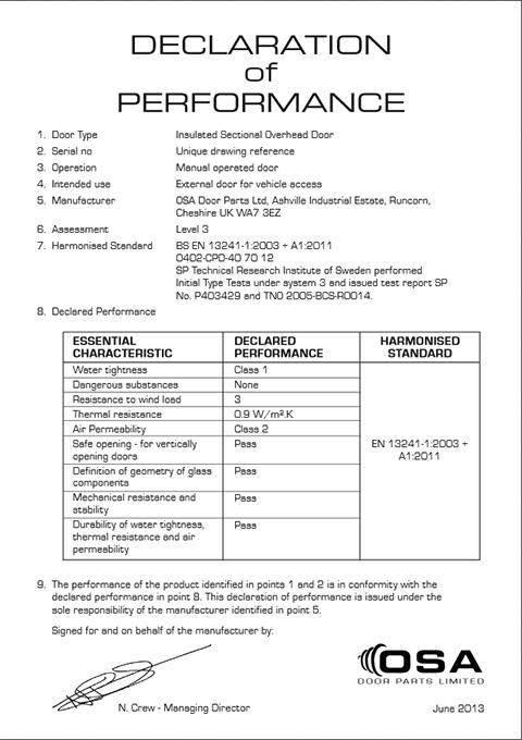 Declaration of Performance - Insulated Sectional Overhead Door (Manual Operation Door) pdf size 24 KB  sc 1 st  OSA Door Parts & Industrial Sectional Doors - CE Certifications » OSA Door Parts ...